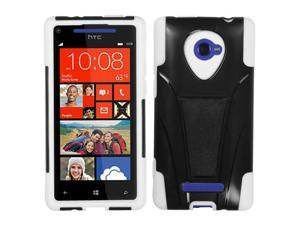 HTC Windows Phone 8X Zenith 6990 Hard Cover and Silicone Protective Case - Hybrid Black/White w/ Y Stand