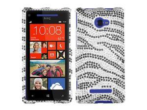 HTC Windows Phone 8X Zenith 6990 Hard Case Cover - Black/White Zebra Skin w/ Sparkle Rhinestones