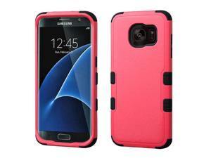 Samsung Galaxy S7 Edge G935 Hard Cover and Silicone Protective Case - Hybrid Natural Pink/ Black Tuff