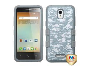 Alcatel OneTouch Elevate 4037V Elevate 5017E Hard Cover and Silicone Protective Case - Hybrid Universal Camouflage/ Iron Gray Tuff