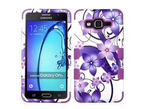 Samsung Galaxy On5 G500 G550 Hard Cover and Silicone Protective Case - Hybrid Purple Hibiscus Flower Romance/ Electric Purple Tuff