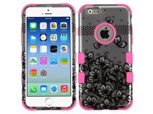 Apple iPhone 6 4.7 inches iPhone 6s 4.7 inches 2nd Gen 2015 Hard Cover and Silicone Protective Case - Hybrid Black Lace Flowers (2D Silver)/ Electric Pink Tuff