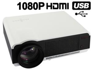 Ship from USA HD 1080P 720P 2800 lumens 20000 Hours LED Projector Home Theatre + Remote + VGA Cable+AV Cable - White