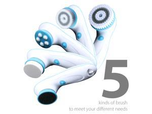 6 in 1 Waterproof Electric Facial & Body Cleansing Brush with 2 Speeds Setting for Skin Care - Include Detachable Handle, 5 Brush Head and Cosmetic Bag (Blue)