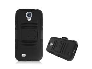Prime Series Dual Layer Holster Case Kick Stand Compatible with Samsung Galaxy S IV , SIV , S4 , S 4 , i9505 with Locking Belt Swivel ...