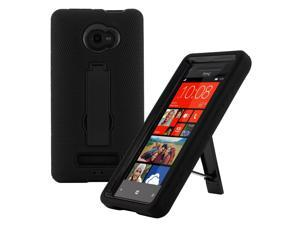 Rugged Dual Layer Impact-Absorbing Case With Built-In Kickstand for Verizon , AT&T , T-Mobile , HTC Windows 8X