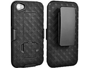 Nabster's Weave Pattern 2 in 1 Impact Resistant Hard Shell Case with Built in kickstand and Belt Clip Combo Holster for Apple iPhone 4/4S (At&t, Sprint, Verizon Wireless, Virgin Mobile, CricKet, Net10