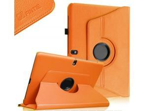 Samsung Galaxy Tab Pro 10.1 Rotating Case Cover - Leather 360 Degree Swivel Stand for TabPro 10.1-inch Tablet SM-T520/T525 (Orange)