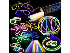 "100 Glow Stick Party Pack Mixed Color 8"" Premium Glowsticks with Connectors"
