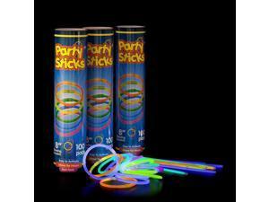 """Glow Sticks 300 Count -  8"""" PartySticks Brand Premium Glow In The Dark Light Sticks"""
