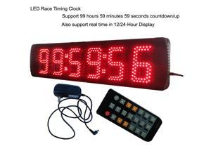 """5"""" High Character 6 Digit LED Race Clock Adjustable Ultra brightness Red Color Remote Control Easy to Operate"""
