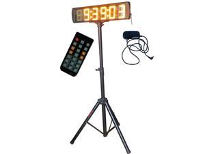 """5"""" Yellow Color Marathon Race Timing Clock Outdoor/Semi-Outdoor LED Running Events Timing Clock LED Countdown/up Clock with Tripod"""