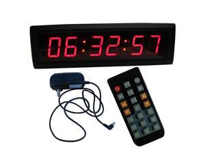 """1.8"""" 6 digits LED Wall Clock Support 12/24 Hour Display & Countdown/up Functions in HRS MINTS SECS IR Remote Control"""