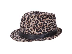 Magid Faux Fur Leopard Fedora Hat with Faux Leather Band