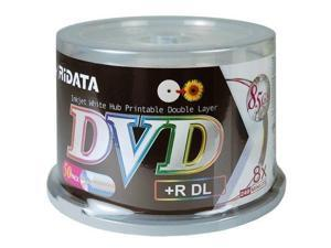 50 RIDATA 8X White Inkjet Hub Printable DL Dual Layer DVD+R 8.5GB Disc Cake Box
