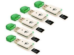 Portable USB 2 Adapter MicroSD SDHC Memory Card Reader/Writer Flash Drive Lot 5