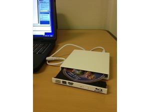 White USB External Blu Ray Burner Drive - CD/DVD/Blu Ray Burner - 2x BD Burner