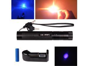 Military Burning 405nm Blue Purple Laser Pointer Lazer Pen Beam 18650 + Charger