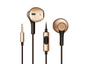 Earphone, iRAG RLab IG-592G Nylon Braided Gold Earbuds with Microphone, Noise