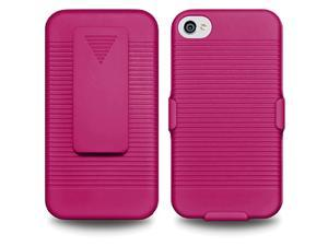 NEW HARD COVER CASE WITH BELT CLIP HOLSTER + KICKSTAND FOR APPLE iPHONE 4 4S 4G -HOT PINK