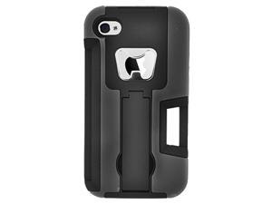 Hybrid Rubberized Bottle Opener Kickstand Case with Credit Card Slot For Apple iPhone 4 4S - Black
