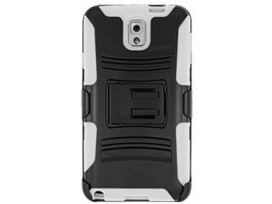Premium Hybrid Double Layer Armor Case Cover with Holster For Samsung GALAXY Note 3 SM-N900A/ N900/ N9000/ N9005 - Black/ White + Screen Protector