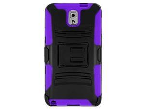 Premium Hybrid Double Layer Armor Case Cover with Holster For Samsung GALAXY Note 3 SM-N900A/ N900/ N9000/ N9005 - Black/ Purple + Screen Protector
