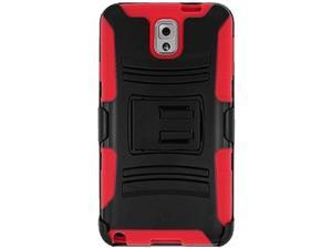 Premium Black & Red Hybrid Double Layer Armor Case with Holster For Samsung GALAXY Note 3 SM-N900A/ SM-N900/ SM-N9000/ SM-N9005 + Slim USB Vehicle Power Adapter