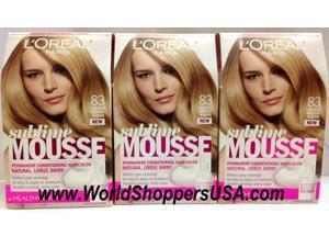(Lot of 3) L'OREAL Paris Sublime Mousse by Healthy look, Hair Color,  83 Golden Medium Blonde