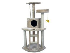 "Hiding Cat Tree 48"" Cat Tree Tower Condo Furniture Scratch Post Kitty Pet House Play Furniture Sisal Pole and Ladder Stairs (Beige)"