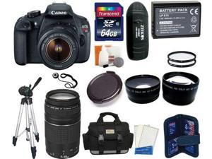 Canon EOS Rebel T5 Digital Camera SLR Kit With Canon EF-S 18-55mm IS II + Canon 75-300mm III Lens + 64 GB Super Kit