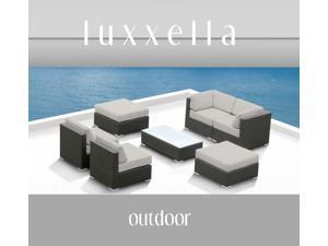 Luxxella Outdoor Patio Wicker MALLINA Sofa Sectional Furniture 7pc All Weather Couch Set Off White
