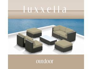 Luxxella Outdoor Patio Wicker MALLINA Sofa Sectional Furniture 7pc All Weather Couch Set Light Beige