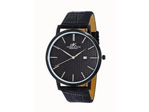 "Mens "" Attache' "" Stainless Steel & Leather Watch by Adee Kaye-Black tone/Black dial"