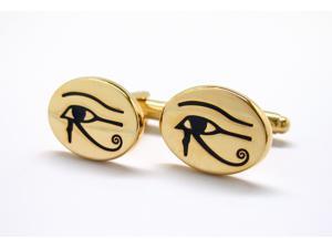 Gold Tone Eye of Horus Egyptian Symbol of Protection Royal Power Good Health Cufflinks Cuff Links