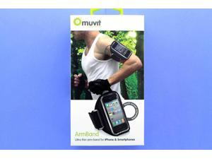 Muvit Large Ultra Thin ArmBand Fits Iphone & Smartphones. Black