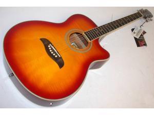 Oscar Schmidt Auditorium Acoustic/Electric Guitar, Spruce Top, Sunburst, OACEFCS