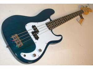 Oscar Schmidt by Washburn P-Style Electric Bass Guitar, Trans Blue, OSB-400C TBL