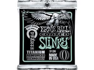 Ernie Ball Coated Not Even Slinky Electric Guitar Strings, Gauges 12-56, P03126