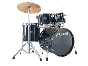 Sonor STAGE 1, 5 Piece Drum Set, SMART FORCE, Black, Includes Hardware & Pedal