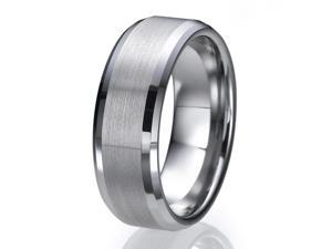 8MM High Polish / Matte Finish Men's Tungsten Ring Wedding Band Sizes 9 to 13
