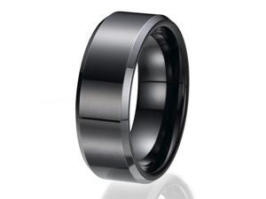 8MM Black High Polish / Matte Finish Men's Tungsten Ring Wedding Band Sizes 9 to 13