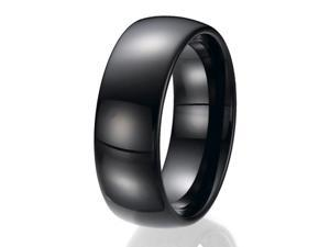 8mm Black Tungsten Wedding Band Ring Sizes 9 to 13