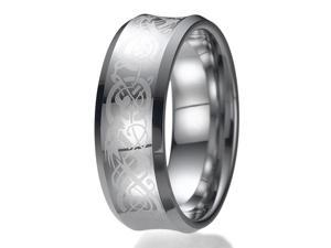 8mm Celtic Dragon Unisex Tungsten Wedding Ring Sizes 9 to 13