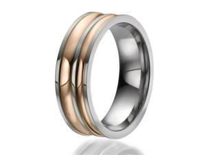 8mm Titanium Ring with 2 stylish engraved stripes plated with rose gold