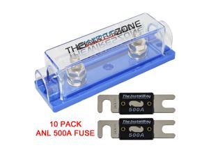 High Quality 1/0/4/8 Gauge ANL Fuse Holder + 10 Pack Nickel 500 Amp 500A Fuse