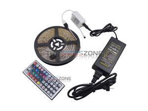 5M 3528 RGB 300 SMD Flexible LED Strip Light w/ 44key Remote + 12V Power Supply
