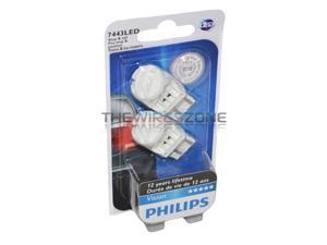 Philips 7443 Red LED Bright Reverse Back Up Tail Brake Stop Turn Light Bulb pair