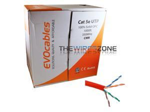 CAT5E UTP 100% Solid Copper 1000' Feet 350MHz 24 AWG CMR Red ETL Ethernet Cable