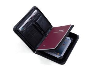 Deluxe Leather iPad Folio with Notepad Space and Organizer Panel, Letter Size
